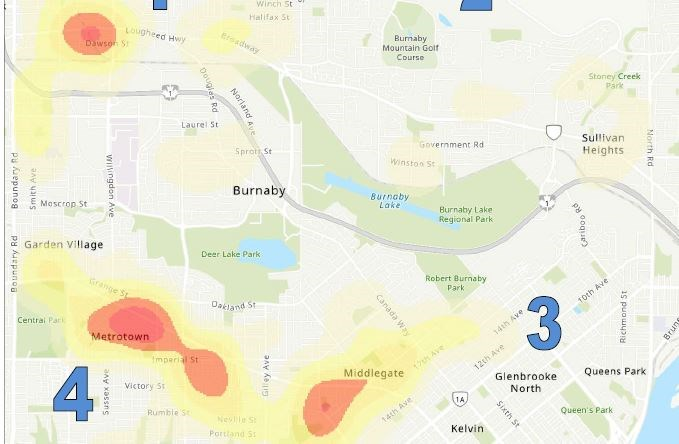 This heat map shows an area of Brentwood with a high density of crime.