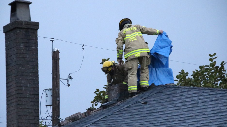 A house on Portland Street in Burnaby was hit by a lightning strike just before 7 p.m.