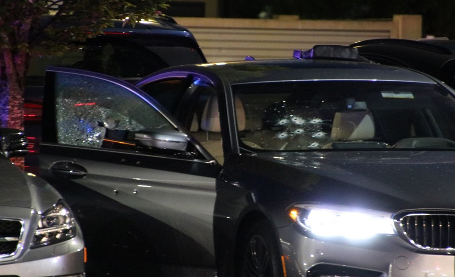 A silver BMW was sprayed with gunfire Thursday night at Market Crossing mall in Burnaby.