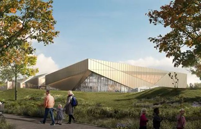 A rendering of the CG Brown Pool and Burnaby Lake Arena replacement.