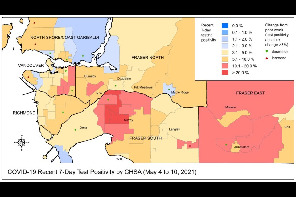 This map shows the COVID-19 testing positivity rate in the region, with New Westminster sitting in the middle of the pack. Areas coloured in red have the highest positivity.