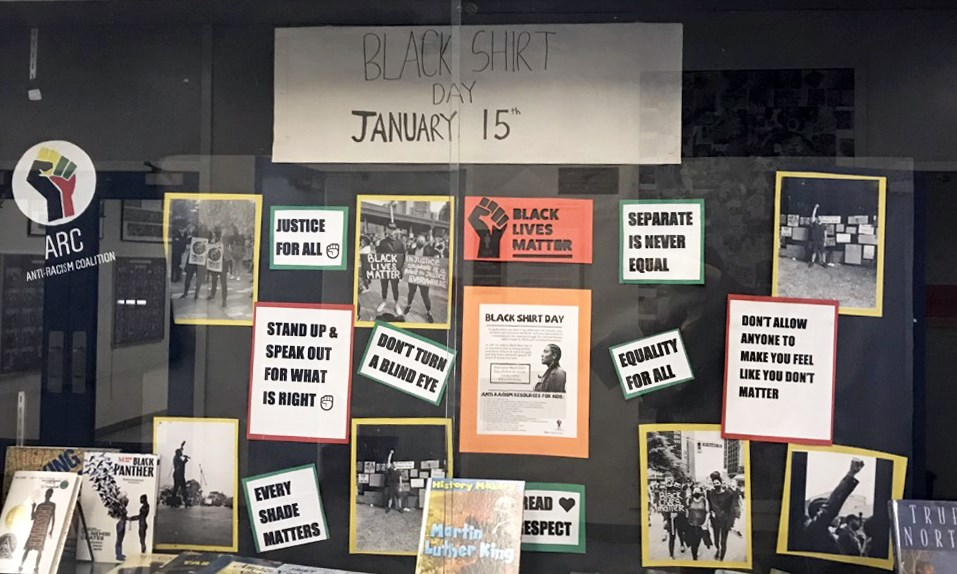 A display at Burnaby's Marlborough Elementary School promotes Black Shirt Day on Jan. 15 in support of anti-racism.