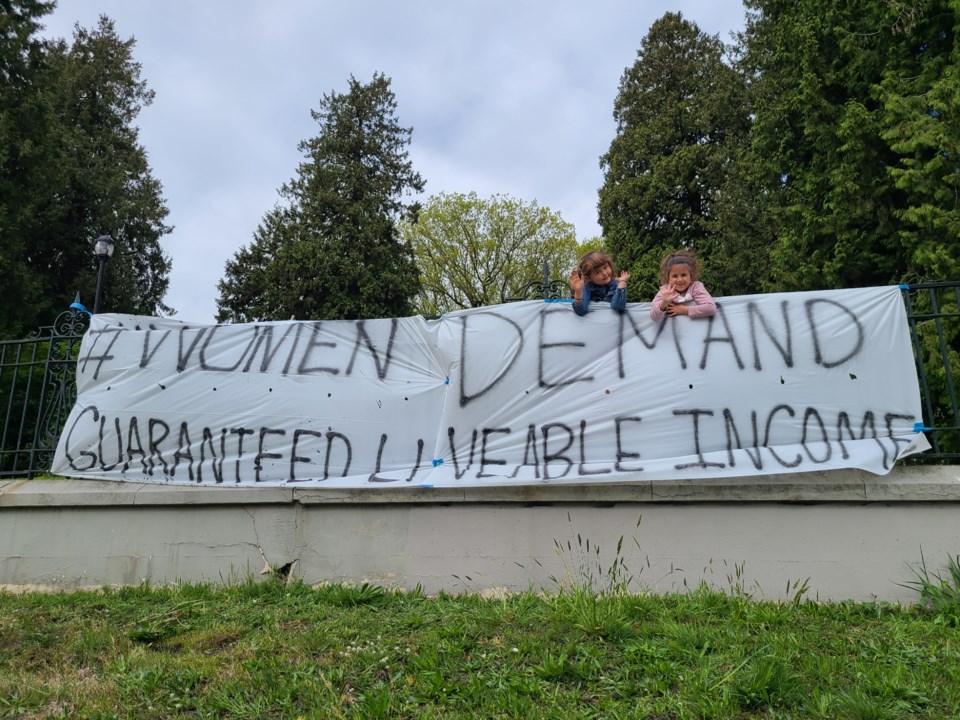 Women's Alliance banner drop
