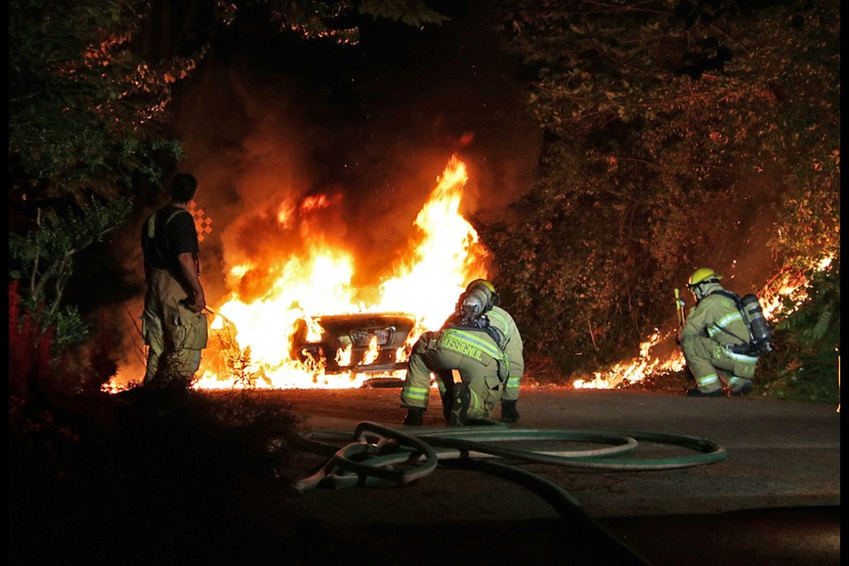 A stolen Honda Accord was found burning at the very north end of North Delta Avenue in Burnaby early Friday morning.