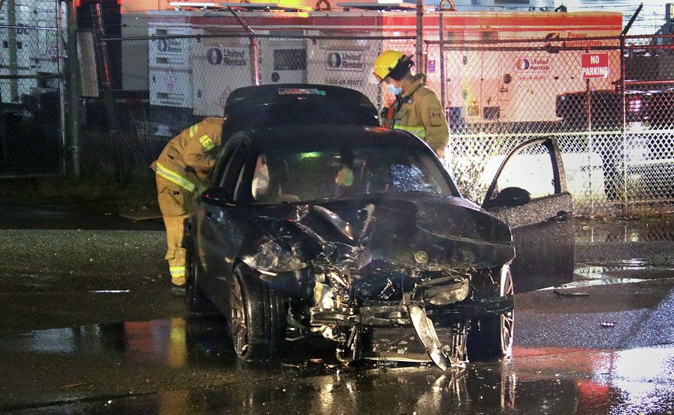 A BMW slammed into the front of Galaxie Signs on Regent Street in Burnaby  Wednesday night. 