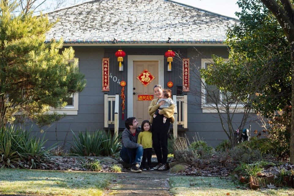 Elaine Su, husband Rob, and kids Ellis and Margo are thrilled with their neighbours' overwhelming response to an appeal to help them add a little magic to their Sapperton neighbourhood by decorating for the Lunar New Year.