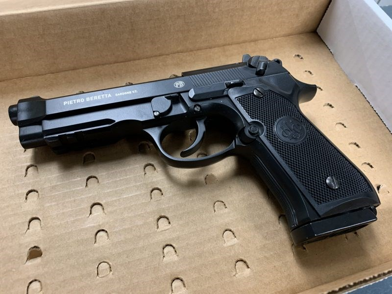 A New Westminster police officer found this replica handgun in a car during a routine traffic stop early Monday morning.