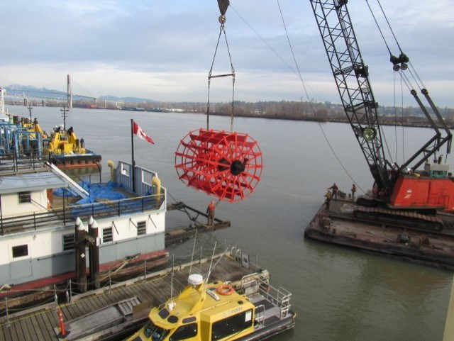 After repairs of the Samson V's paddlewheel were completed offsite, it was returned to the city on Dec. 3 and lifted into place by a crane.