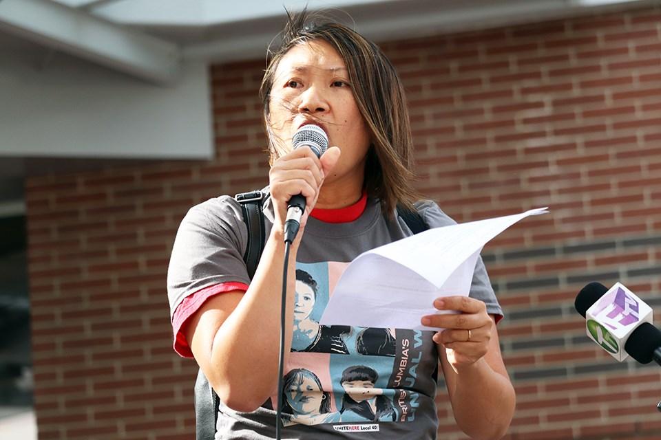 UNITE HERE Local 40 President Zailda Chan outside the Hilton Metrotown on Aug. 5, 2021.