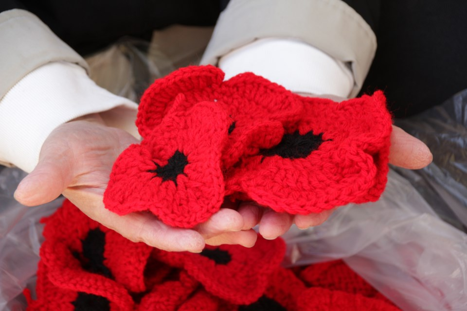 The knitted or crocheted poppies have been sent in from all over the world.
