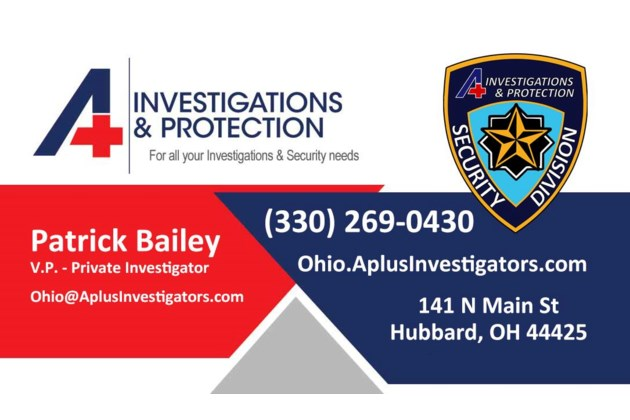 A+ Investigations & Protection Business Card 1