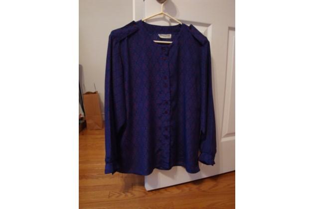 BlueRed Long Sleeve Blouse