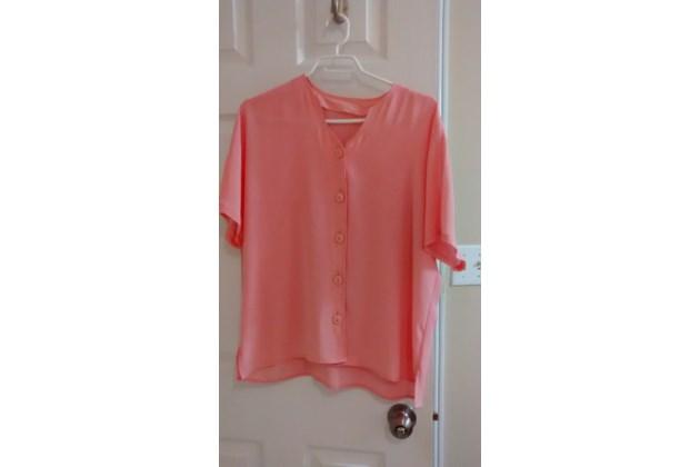 Peach Short Sleeve Blouse