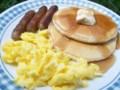 pancakes-sausage-scrambled eggs