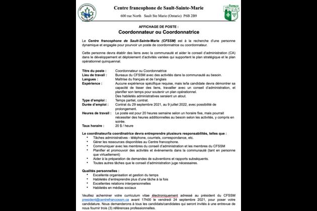 CFSSM poste Coordonnateur:Coordonnatrice 2021