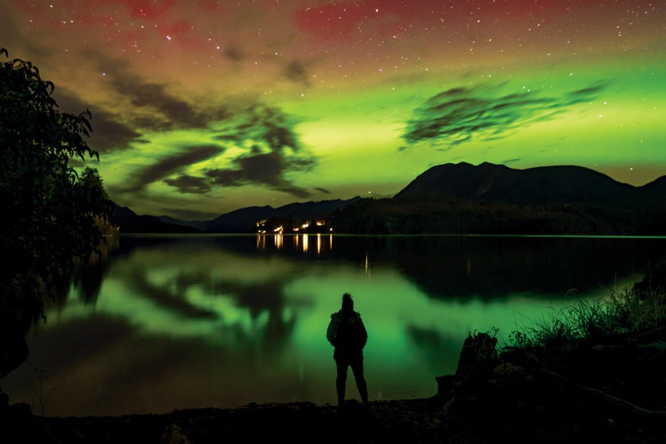 Sherry Nelsen captured a self-portrait with the northern lights on Oct. 11 by using a long exposure on the shore of Sechelt Inlet.