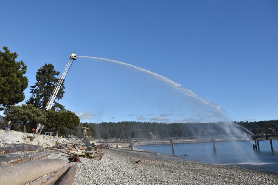 The Sechelt Fire Department was at Friendship Park on Wednesday, Feb. 17 to test the pressure and streaming distance of their newest fleet addition – a Pierce Ascendant 100-ft. Aerial Tower truck.