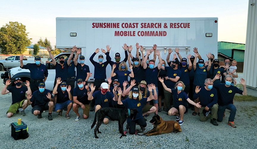 Members of Royal Canadian Marine SAR Station 14 Gibsons and Sunshine Coast Search and Rescue held a social on June 29 to coordinate joint training sessions.