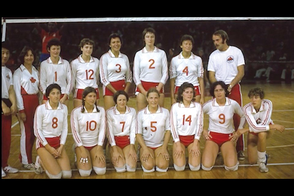Baxter, front row, second from right, played for Team Canada at the 1976 Olympic Games in Montreal – the first Canadian women's volleyball team to compete at the Olympics.