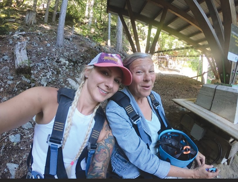 Rachel Prisel (left) with her mother Mona Kozak ziplining in Whistler in 2020. Prisel is asking the public for information surrounding her mother's death earlier this month.