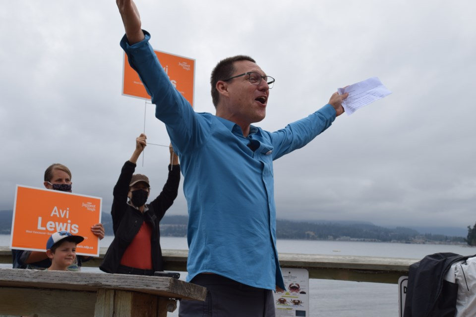 NDP candidate Avi Lewis at his first campaign rally for the West Vancouver-Sunshine Coast-Sea to Sky Country riding, in Davis Bay on Monday, Aug. 16.