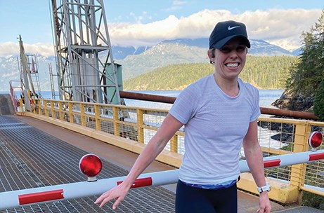 Katherine Short set the fastest known time for a female runner on the Sunshine Coast's Ferry-to-Ferry trail on March 16, with a time of nine hours and 52 minutes.