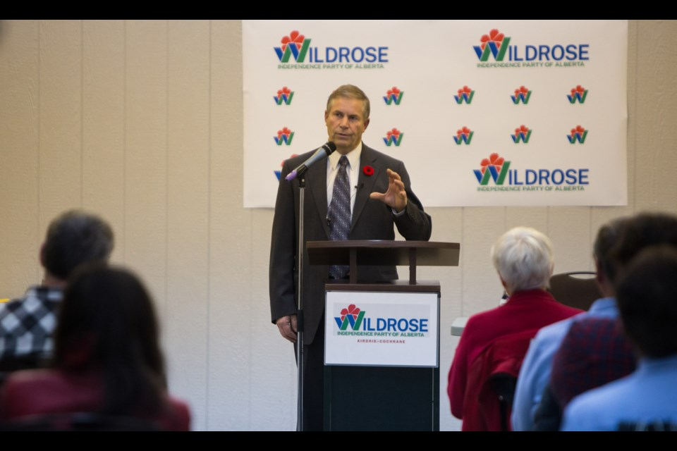 Interim leader Paul Hinman speaks at the Wildrose Independence Party of Alberta Airdrie-Cochrane constituency's inaugural meeting on Friday (Nov. 6) at the Frank Willis Memorial Hall. (Chelsea Kemp/The Cochrane Eagle)