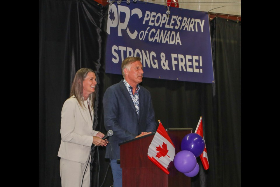 People's Party of Canada leader Maxime Bernier and local candidate Nadine Wellwood speak at an event at the Lion's Club Event Centre on Aug. 30. Jessica Lee/Great West Media
