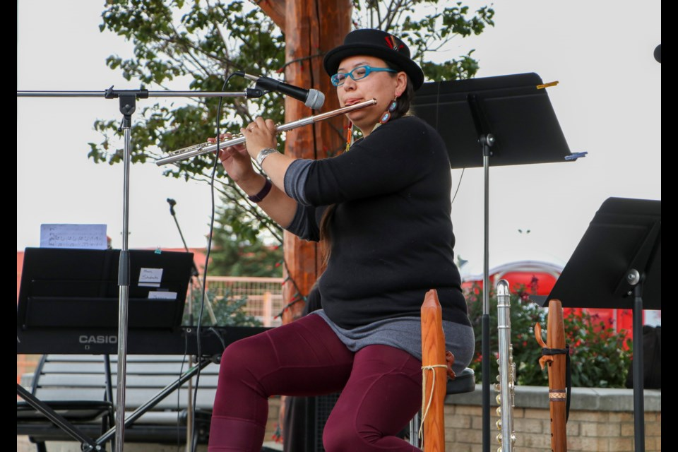 Local Cree musician Jessica McMann headlines the performances at Cochrane Integrated Arts Society's Cochrane Culture Days at Centennial Plaza on Sunday (Sept. 12). (Jessica Lee/The Cochrane Eagle)