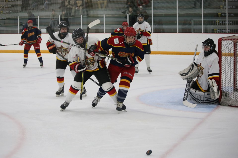 The Cochrane Chaos battled hard on Sunday (Oct. 25) night during the regular-season home opener at the Spray Lake Sawmills Family Sports Centre. (Tyler Klinkhammer/The Cochrane Eagle).