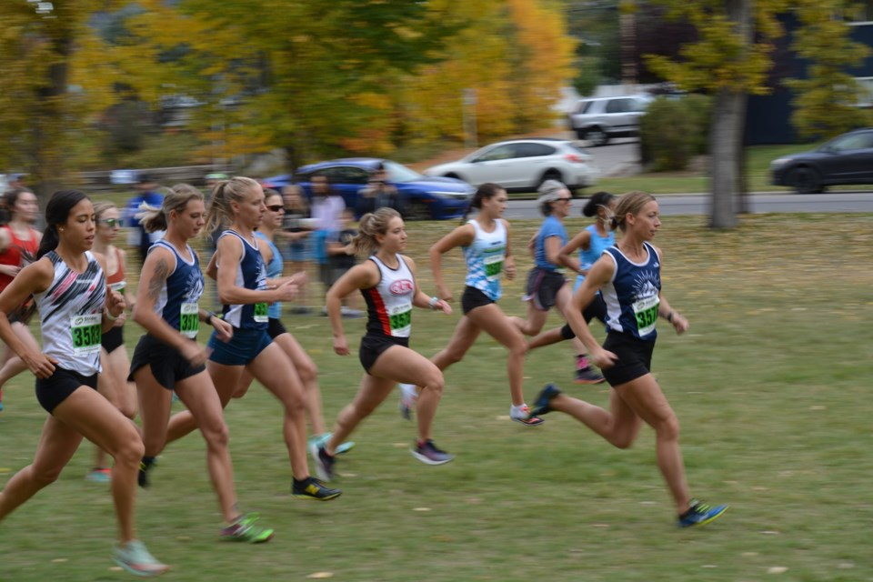 Runners take off in the women's open six-kilometre race at an open cross-country club meet hosted by the Cochrane Endurance Project in Canmore Park Sept. 25.