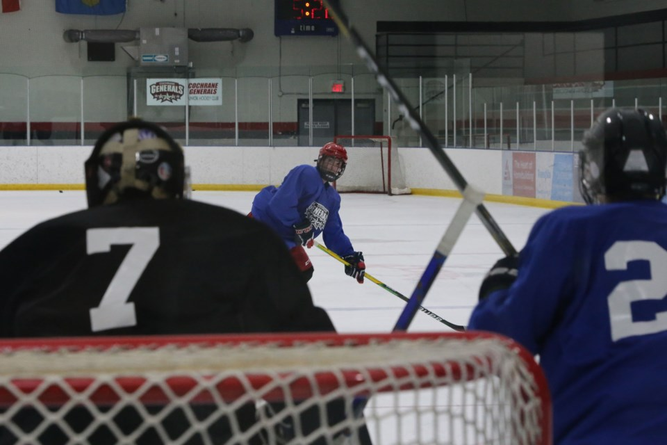 A potential General looks for an opening on the Cochrane Generals roster. (Tyler Klinkhammer/The Cochrane Eagle)