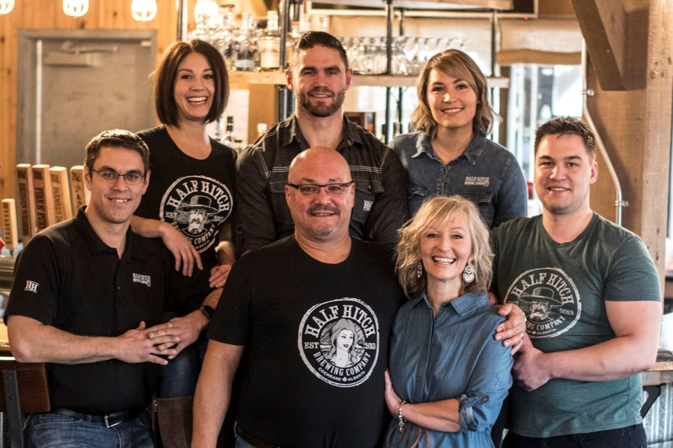 The Heier/Kozloski family that owns and operates the Half Hitch Brewing Company are pictured in the restaurant.  From top, left to right: Lauren Kolenda, Kyle Heier, Brittany Kozloski Bottom, left to right: Chris Heier, Michael Heier, Lisa Heier and Chace Kozloski (Photo supplied)