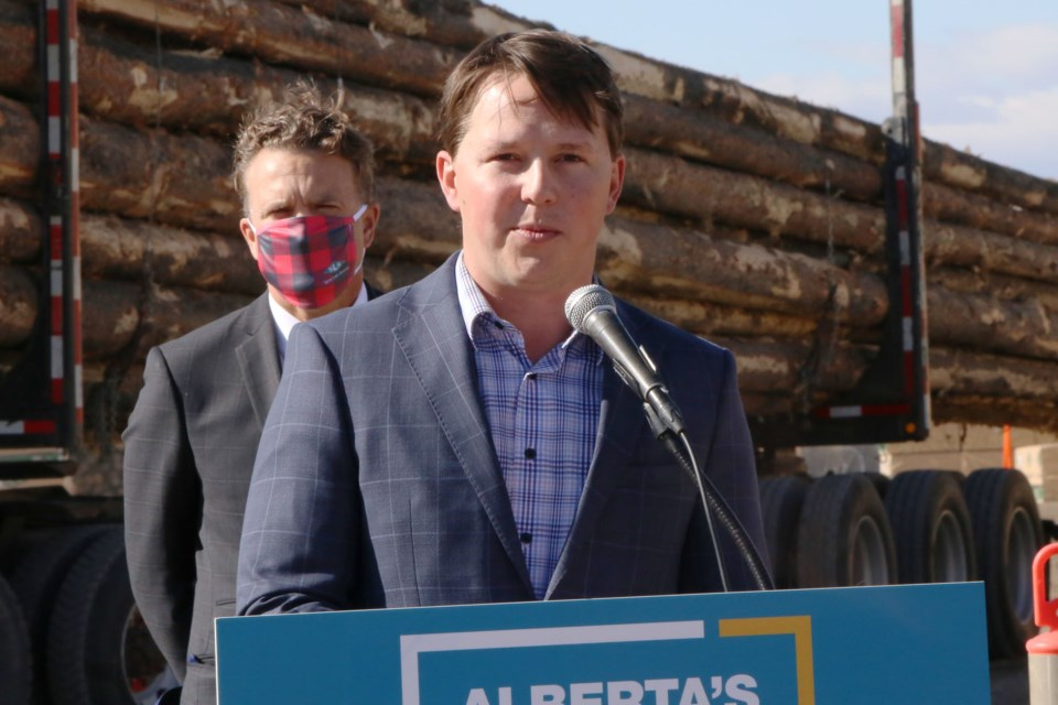 Minister of Agriculture and Forestry, Devin Dreeshen, visited Cochrane on Tuesday (Oct. 5) to discuss the UCP's plans for economic recovery in the province, and the forestry industry's role. (Tyler Klinkhammer/The Cochrane Eagle)
