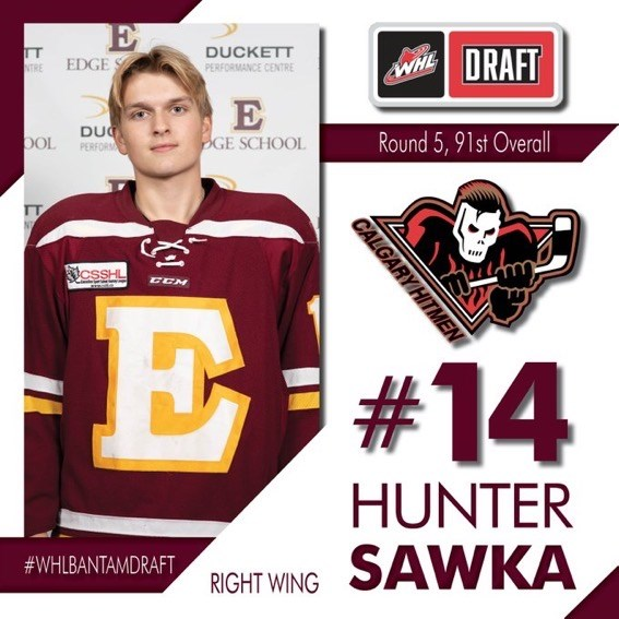 Hunter Sawka was taken in the fifth round of the WHL Bantam Draft by the Calgary Hitmen.   Photo courtesy of the Calgary Hitmen