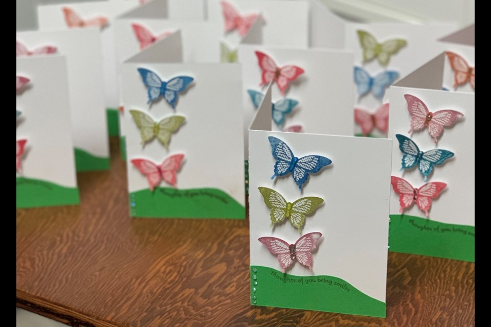 Encouragement cards for seniors created by the Prairie Sky 4-H Club. Submitted Photo