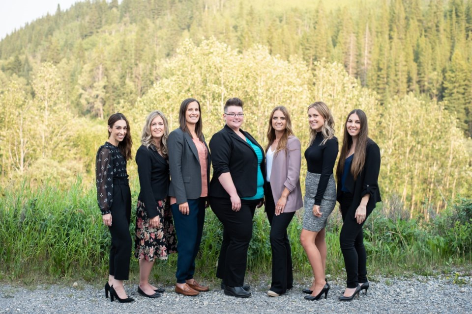 Mountain Vista Law took gold in this year's Best of Cochrane awards for Best Law. Pictured from left to right are, Jackie Fralick, Erin Barvir, Marisa Valle, Amanda Tuff-Overes, Candace Wray, Kendra Peters and Courtney Tayler.
