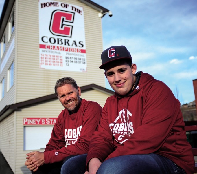 Cochrane High School Cobras football coach Rob McNab was alerted by player Cody Pickering about a man reported missing turning up in the school's field house in