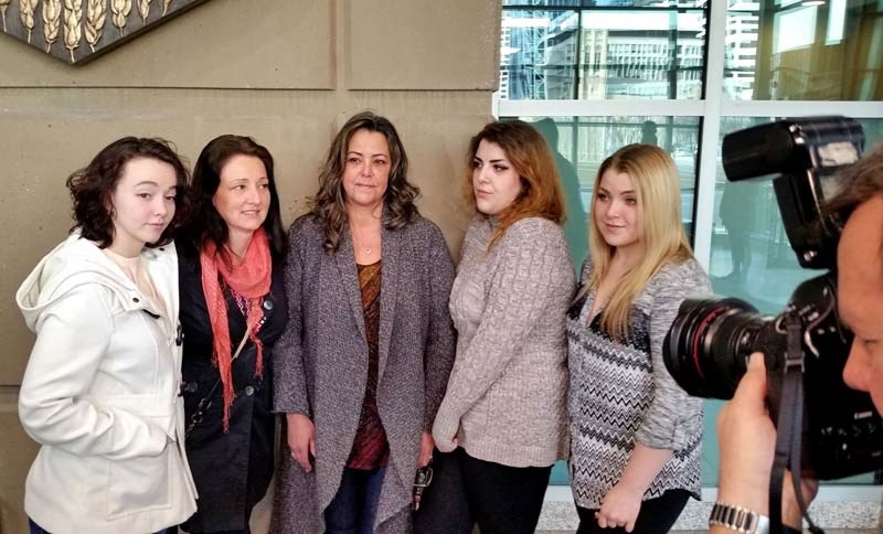 Jordyn Griffin, Dawn Griffin, Lisa Fox, Kylie French and Taylor French after Justice John McCarthy found Allan Dean Griffin, from Cochrane, guilty on two counts of sexual
