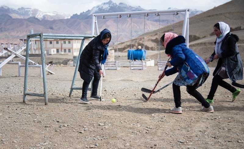 First taste of hockey for girls in Bamyan, Afghanistan.