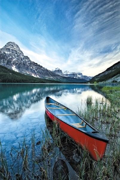 Canoe and Mount Chephren, Lower Waterfowl Lake, Banff National Park.