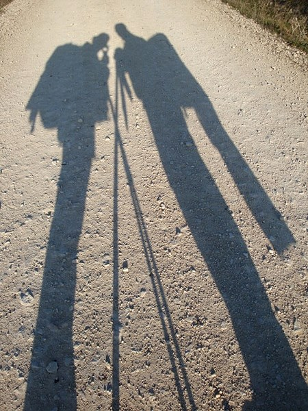 Marie-Linda Plante captured her shadow (left) and that of a friend while walking the Camino.