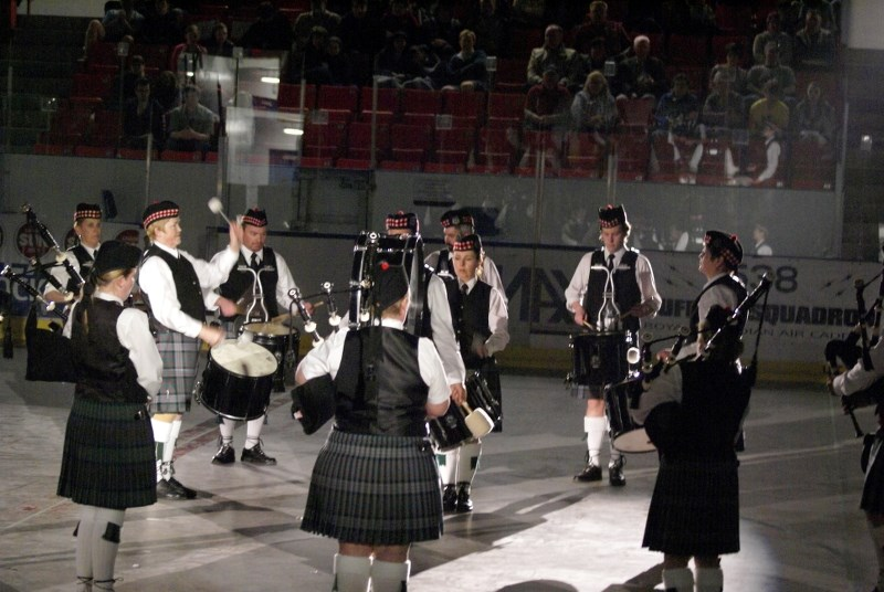 The Cochrane Pipe Band played during the 2013 Calgary Military Tattoo May 4 at Max Bell Arena. The term 'tattoo' means the performing of music and displays by a