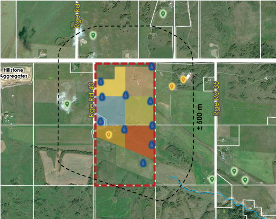 A close-up of the Summit Pit plans shows the beginning of the Big Hill Spring directly west of the drainage area that borders the south end of Mountain Ash's project location.