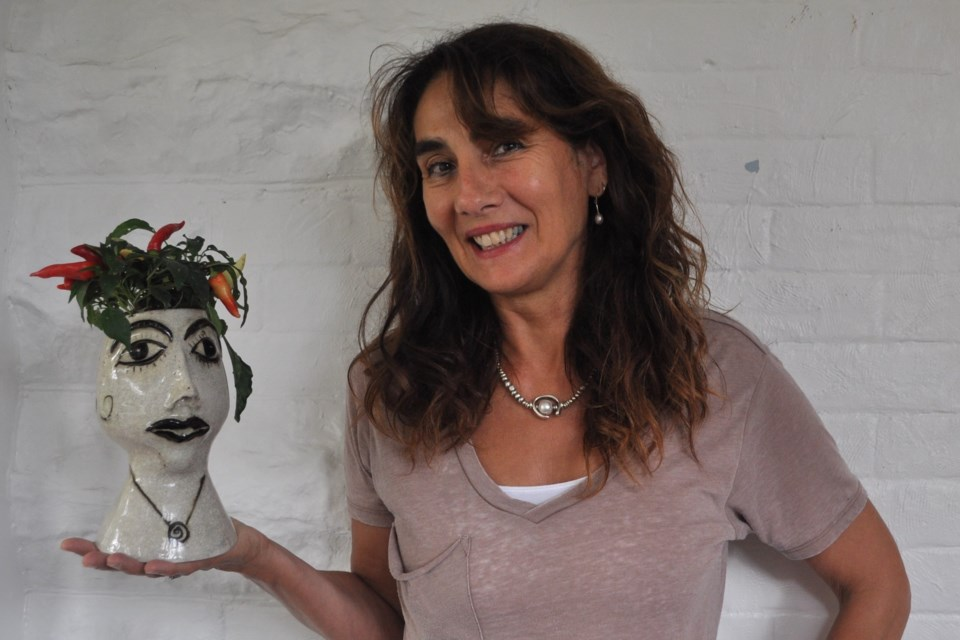 Artist Anke Lex and her Growing Ideas exhibit. Photo provided by Anke Lex.