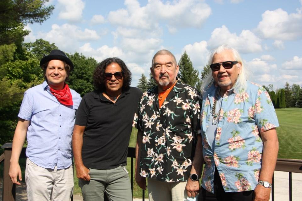 Daniel Vnukowski, artistic director of the Collingwood Summer Music Festival, with festival guests: Steve Salas, Graham Greene, and Dr. Duke Redbird.