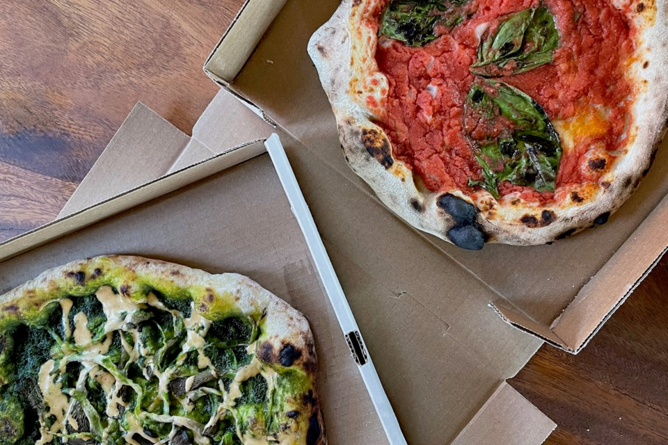 Paisano Vegano offers two pizzas every week: one weekly special, and their classic marinara pizza.