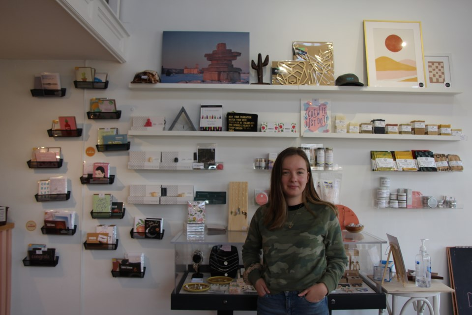Susan Parker, one of the founders of The Maker's Outpost, stands in the storefront's new location on Hurontario Street. Maddie Johnson for CollingwoodToday