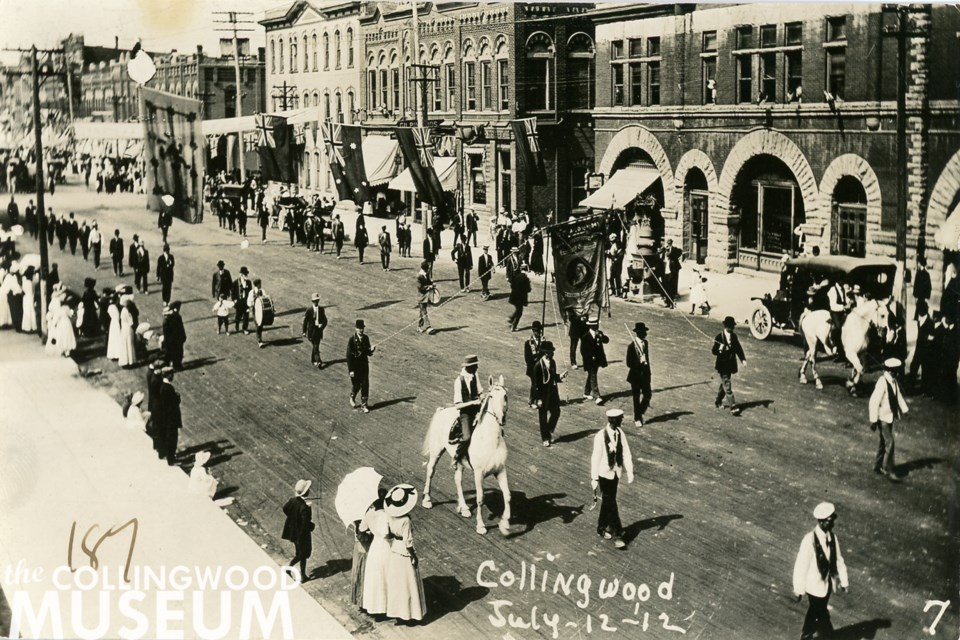 The 1912 Orange Parade shows a familiar view of Hurontario Street. Photo provided by Collingwood Museum Collection.