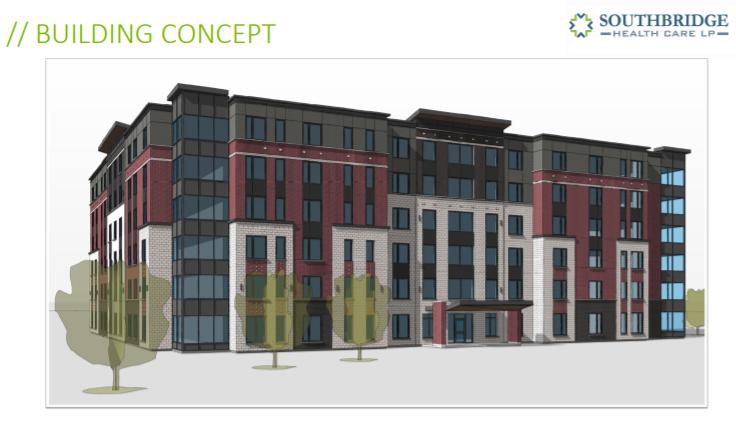 An artist rendering of the long-term care facility being proposed by Southbridge.